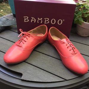 Bamboo Lynne Coral Red Oxfords NIB